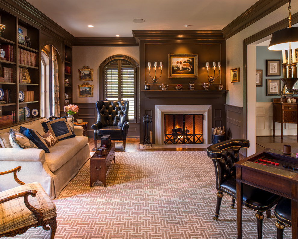 Inspiration for a timeless formal living room remodel in Philadelphia with brown walls
