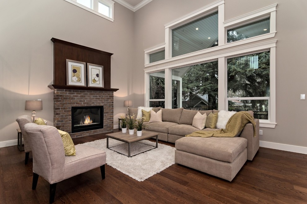 Inspiration for a contemporary living room remodel in Vancouver with gray walls