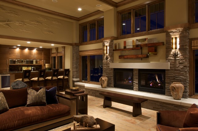 Frank Lloyd Wright Inspired Contemporary Living Room