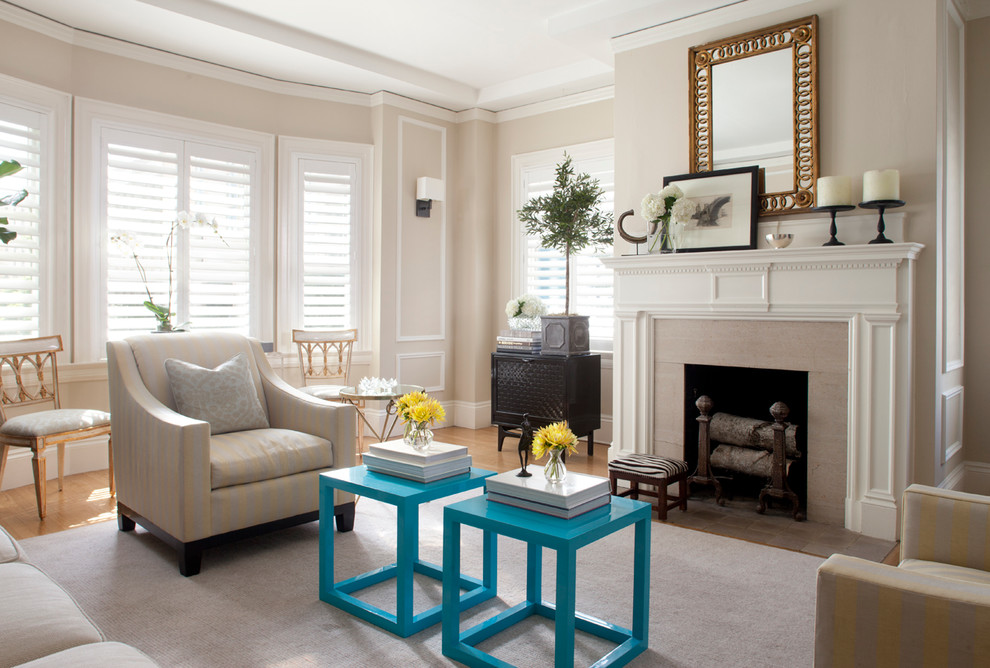 Example of a classic living room design in San Francisco with beige walls