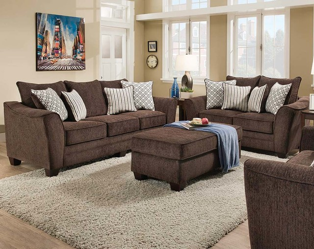 brown couch living room freefall chocolate sofa and loveseat transitional 11946