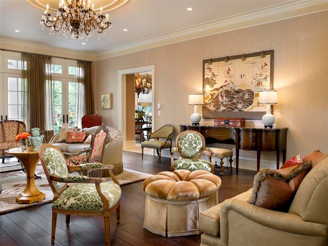 French Chateau Traditional Living Room Chicago By