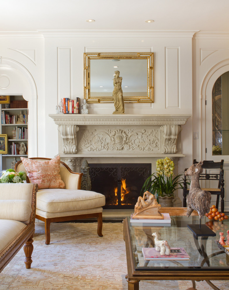 Living room - traditional formal living room idea in Los Angeles with a standard fireplace