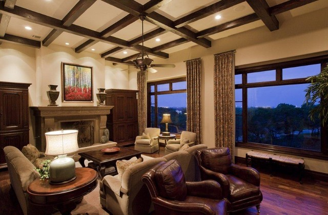 French Country Estate Traditional Living Room Austin by