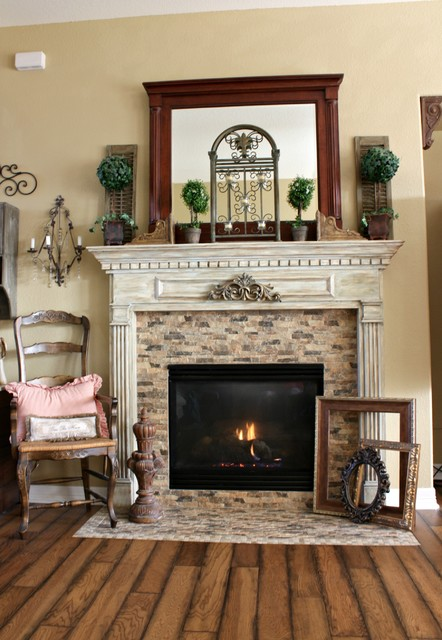 French country fireplace traditional living room houston for French country stone fireplace
