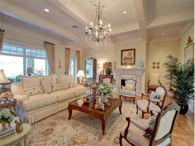 French Country On The Water Traditional Living Room