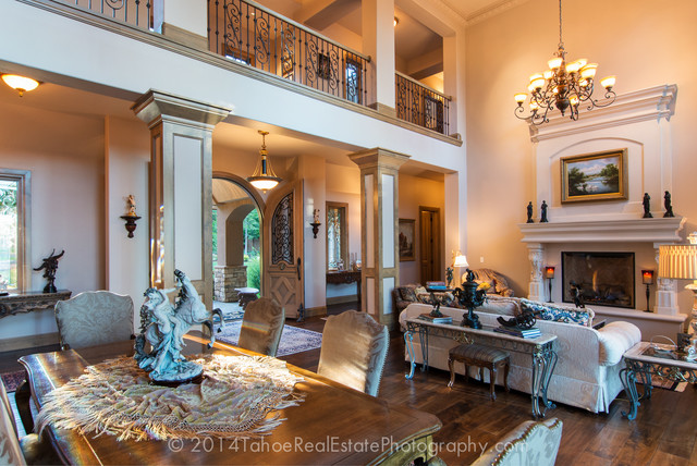 French Country Style Lakefront Mansion Tahoe City CA Mediterranean Living Room