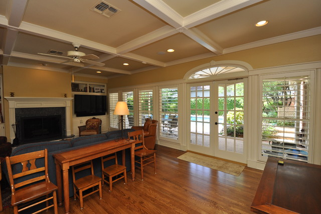 French doors and ceiling traditional-living-room