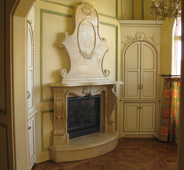 French Limestone Fireplace living-room