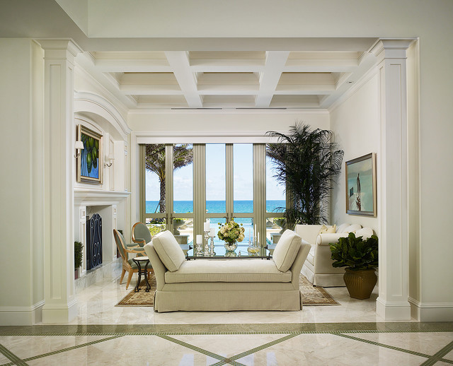 Living Room Marble Floor French Vanilla Flooring  Traditional  Living Room  Miami .