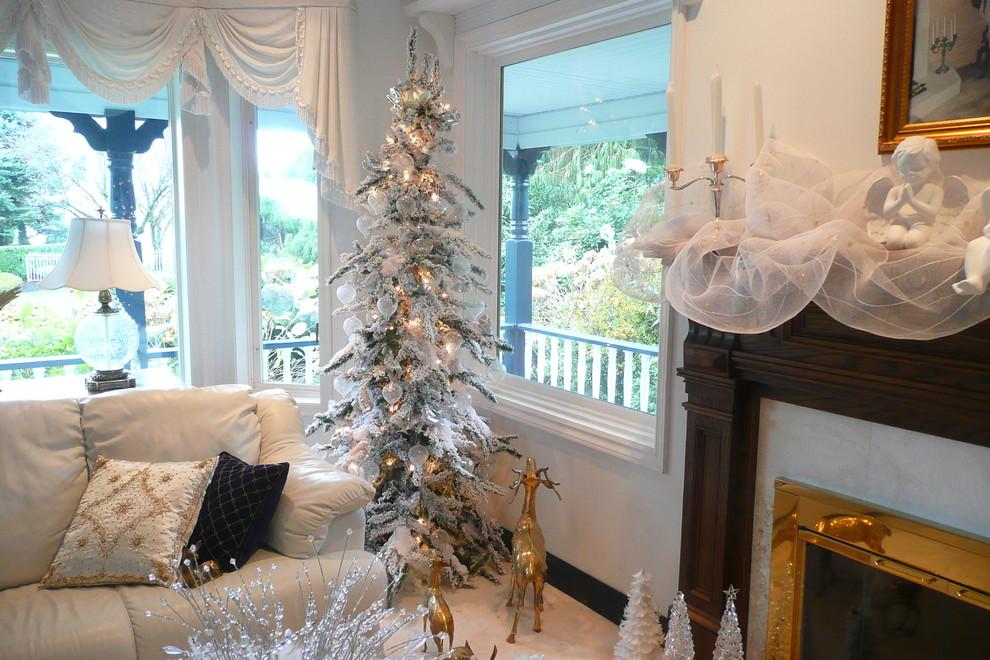 Elegant living room photo in Vancouver