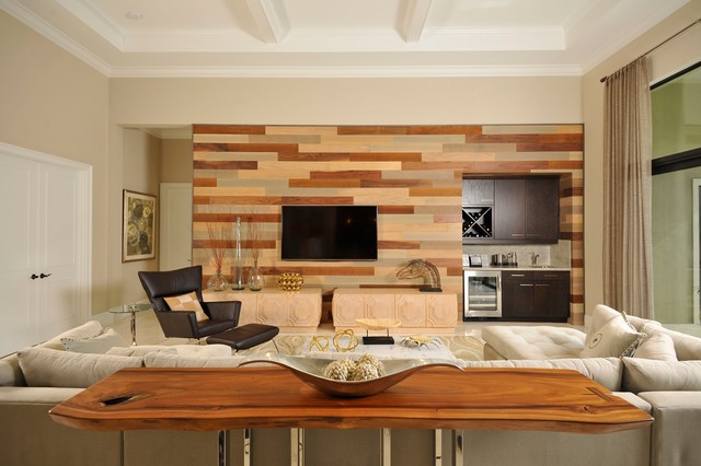 Friendlywall wood paneling contemporary living room for Woodwork design for living room