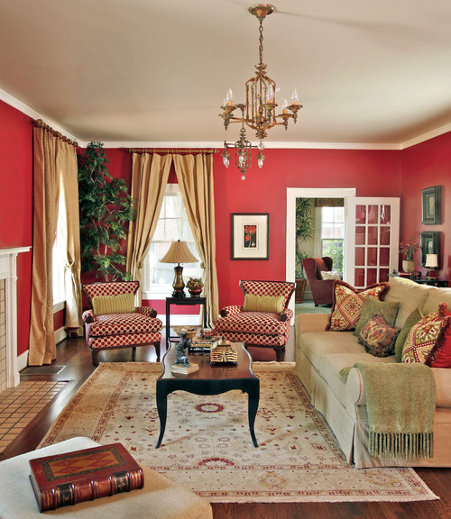 Traditional Living Rooms: Interior Styles And Design: Red Rooms