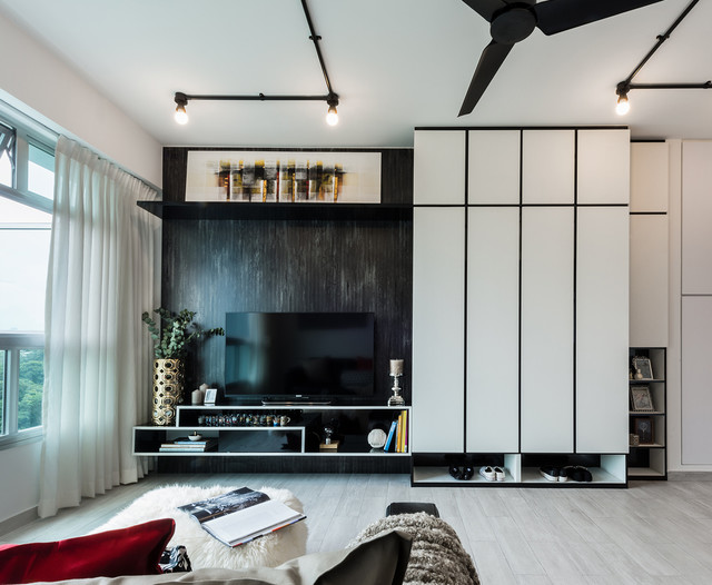 Full Height Built In Tv Console And Storage Industrial Living