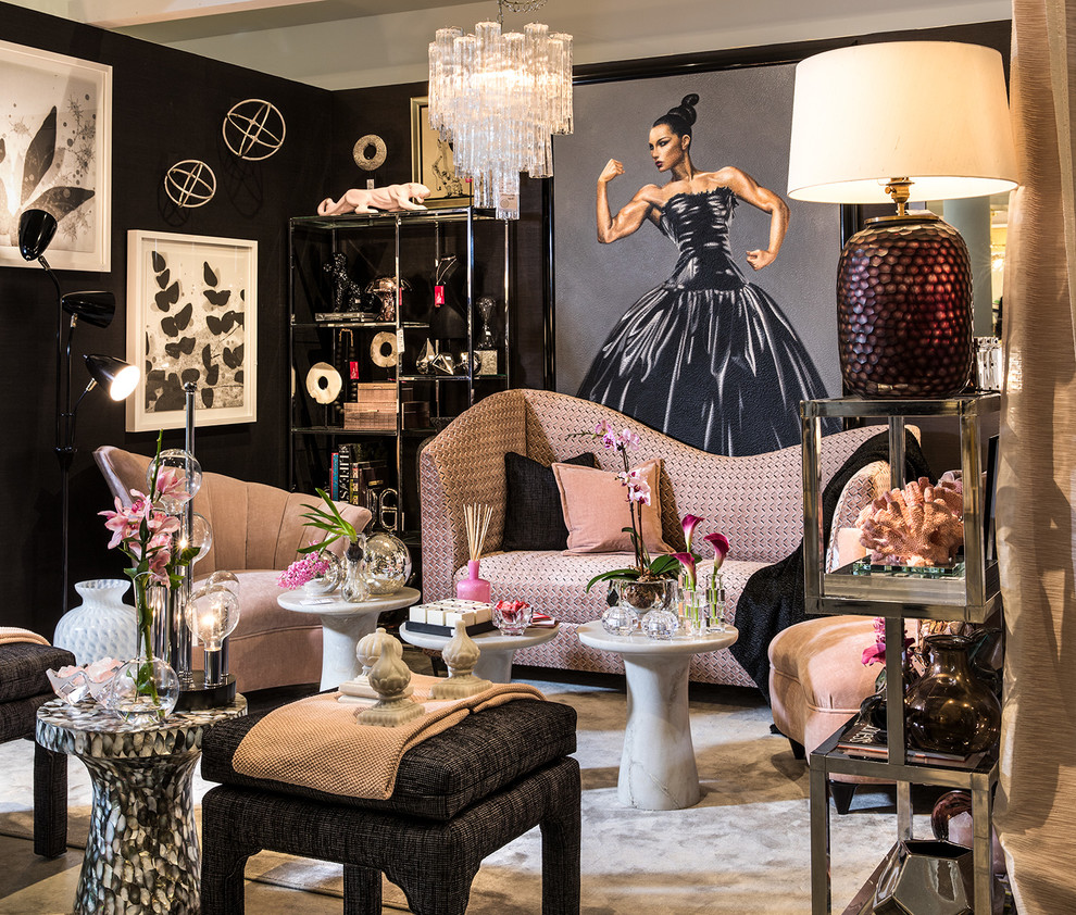 Inspiration for an eclectic formal living room remodel in Miami with black walls