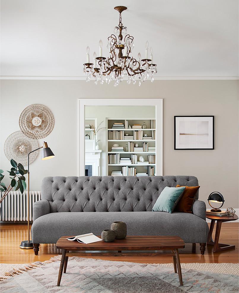 Large danish formal living room photo in Portland