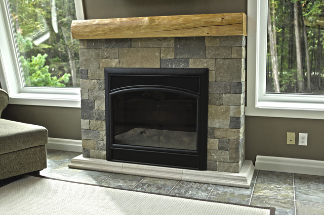 Fusion Dry-Stack Stone traditional-living-room