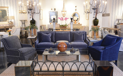 Gabby Las Vegas Furniture Showroom: Eclectic Vignette With Cube Tables,  Iron Bench, And Custom Upholstered Sofa And Lounge Chairs Under Antique  Style ...
