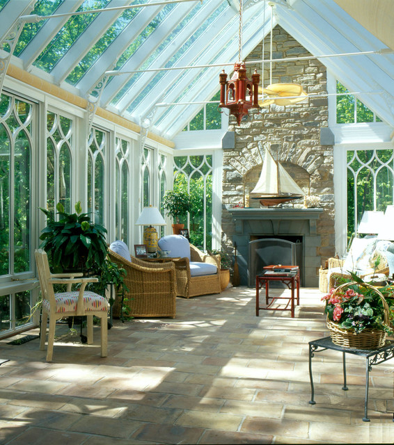 Gable end conservatory with fireplace traditional for Sunroom with fireplace
