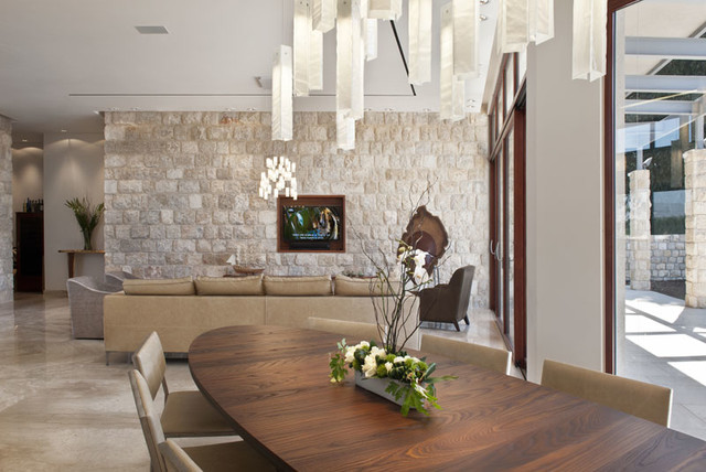 Two Pendant Lights Over Dining Room Table