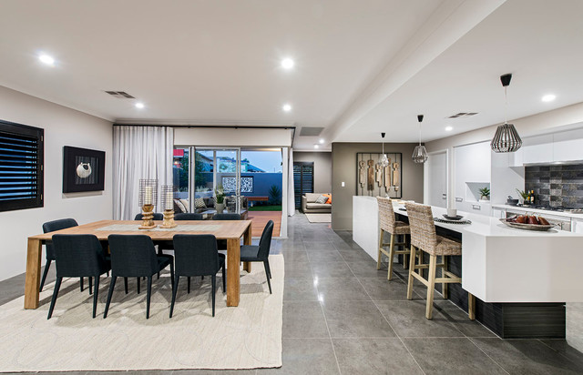 Galley Kitchen In Open Plan Living The Rawson In Vogue Display Modern Living Room
