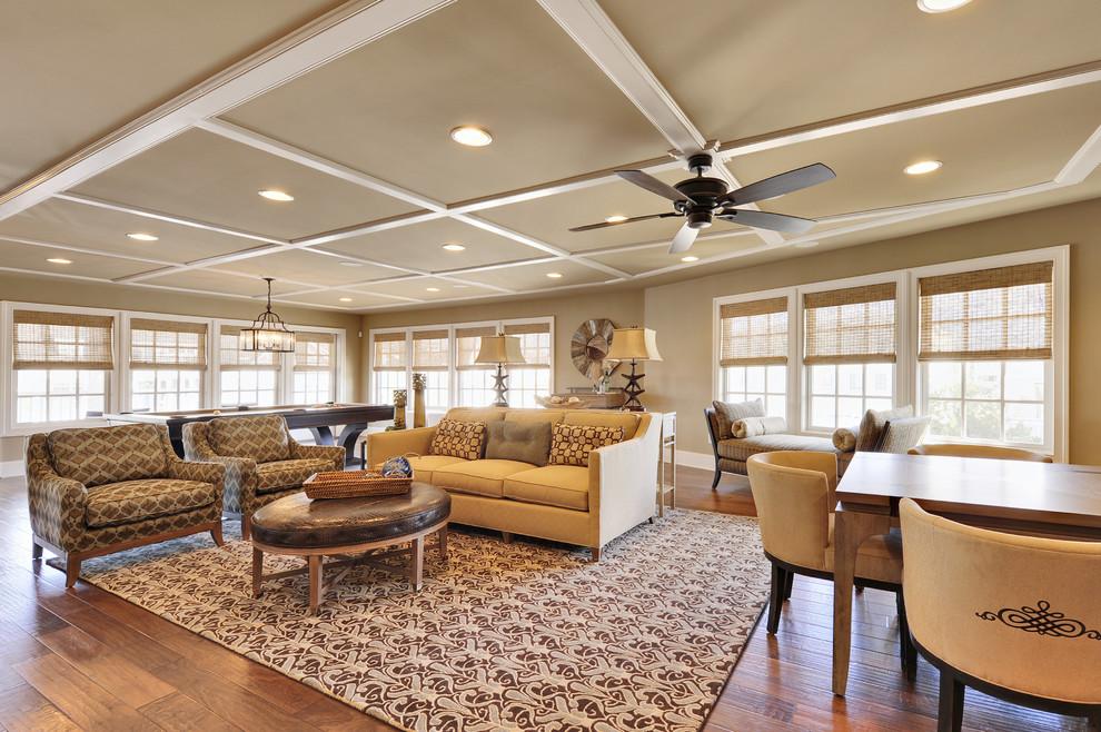 Huge elegant living room photo in Philadelphia with beige walls