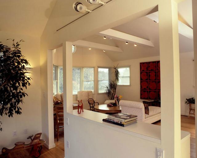 Garage Addition Contemporary Living Room New York