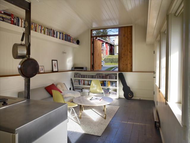 garage conversion transitional living room seattle by shed architecture design. Black Bedroom Furniture Sets. Home Design Ideas