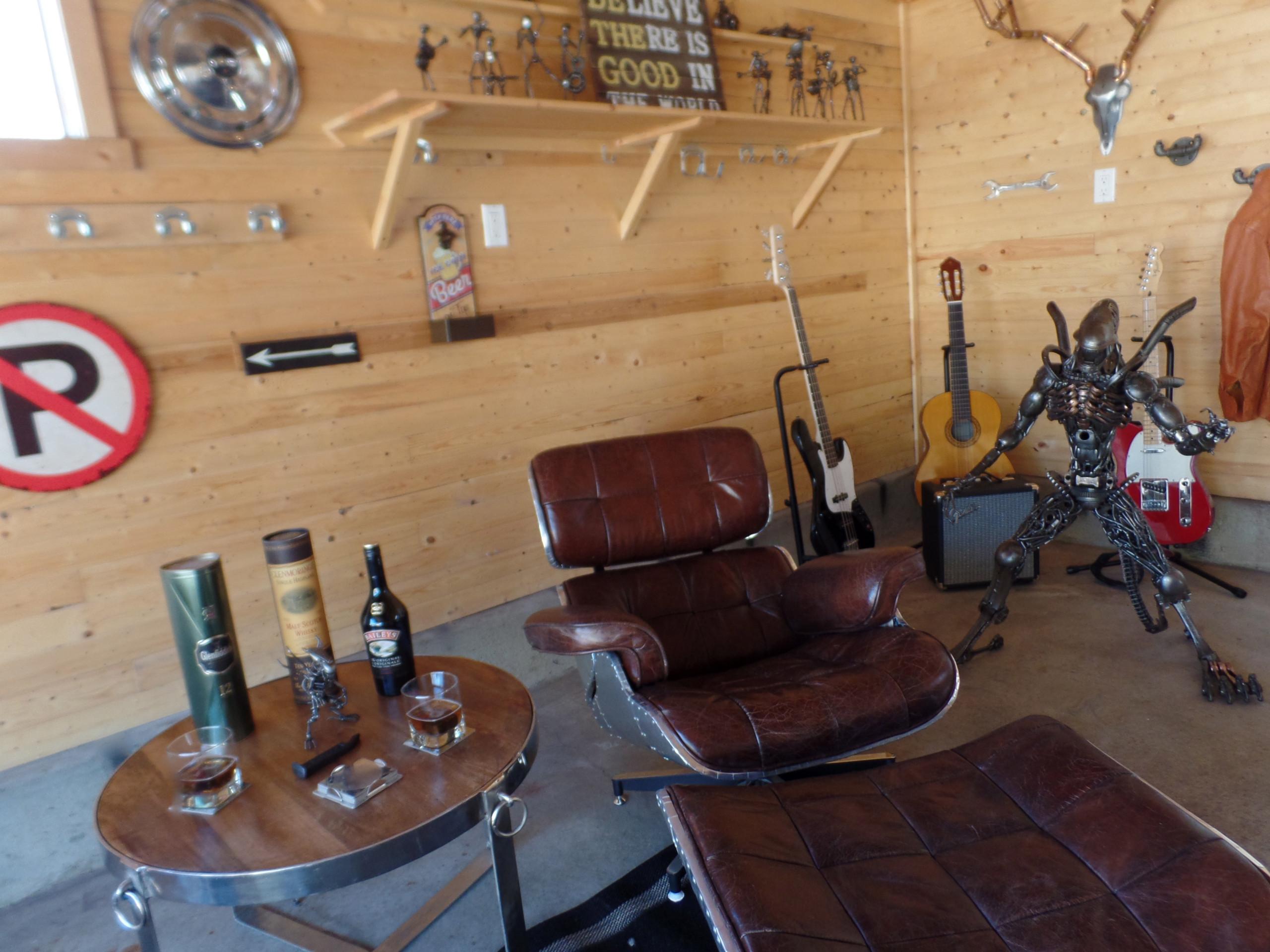 Garage Transformed into a Man Cave