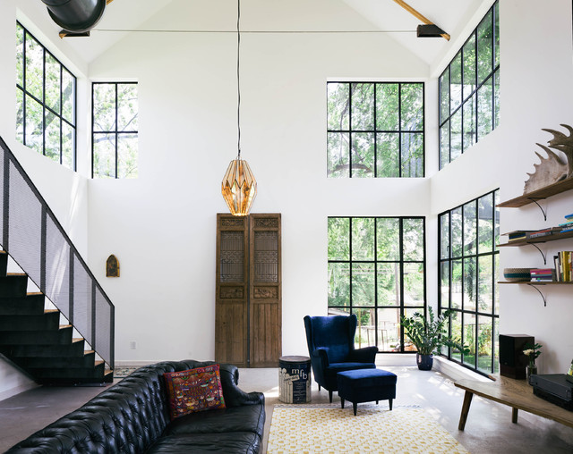 Industrial Living Room Idea In Austin With White Walls Part 78