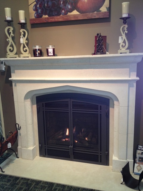 gas fireplace and limestone mantel traditional indoor