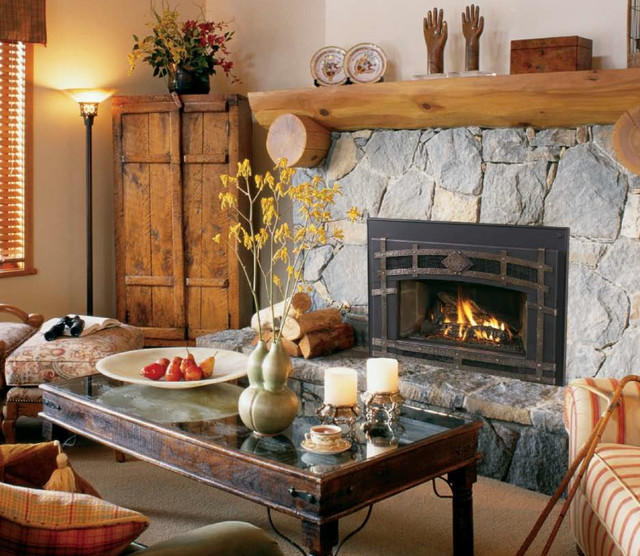 Gas Fireplace Inserts Rustic Indoor Fireplaces San