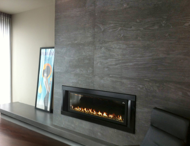 Gas Fireplace Surround Contemporary Living Room New