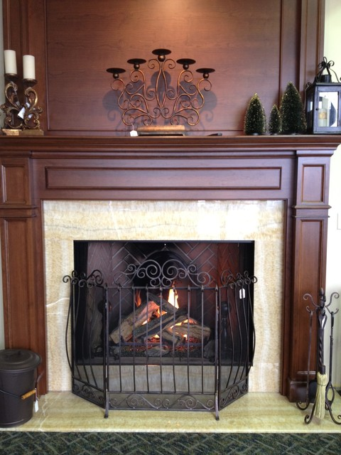 gas fireplace with wood mantel traditional indoor