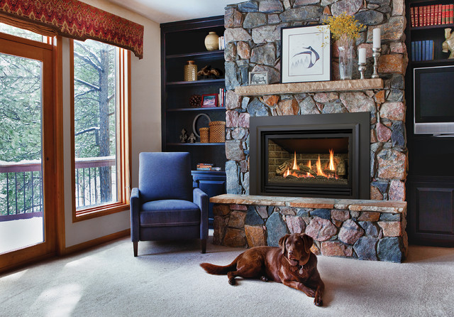 Gas Insert Fireplaces Rustic Living Room Other Metro