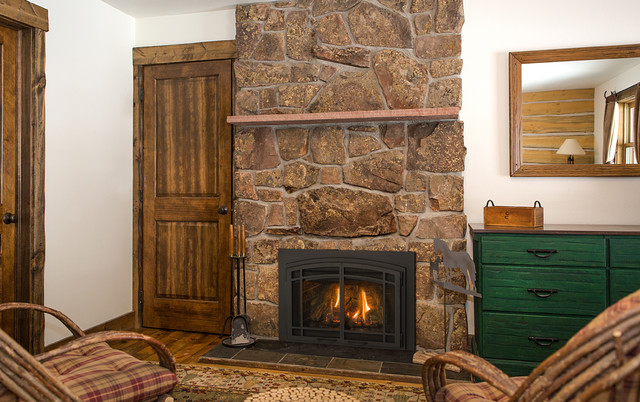 Gas Insert Fireplaces Rustic Living Room Minneapolis