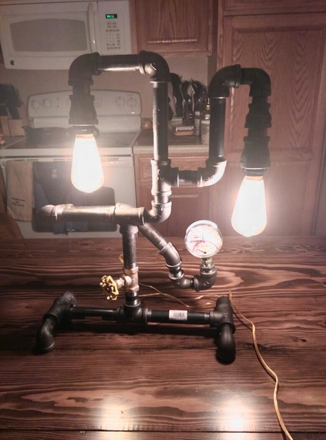 Gas pipe lamps industrial living room other by for Gas pipe lamp