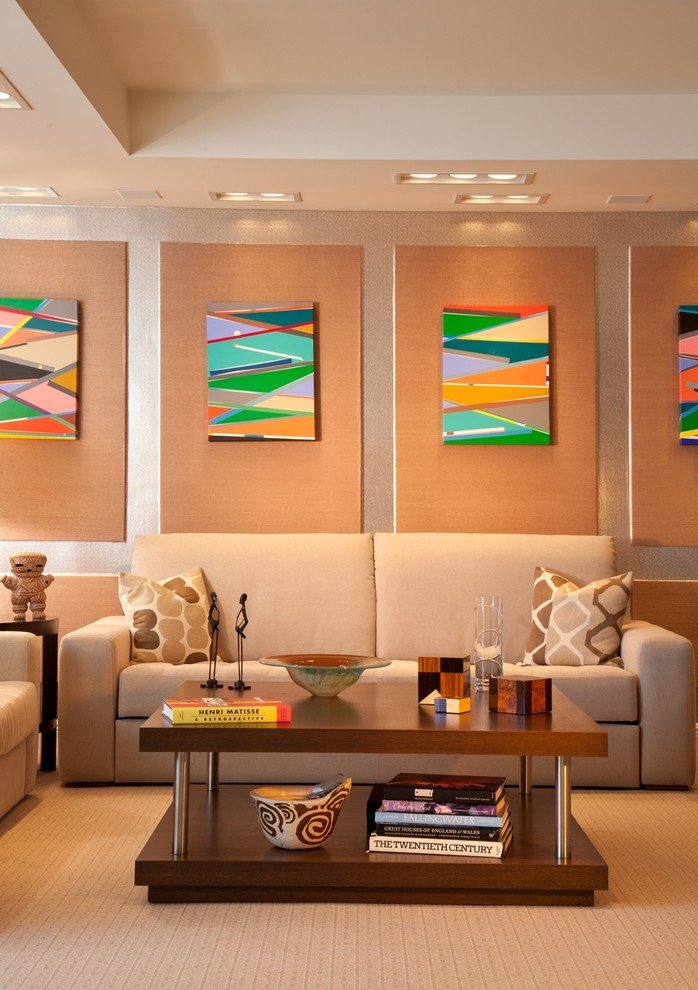 Inspiration for a contemporary living room remodel in Miami with beige walls
