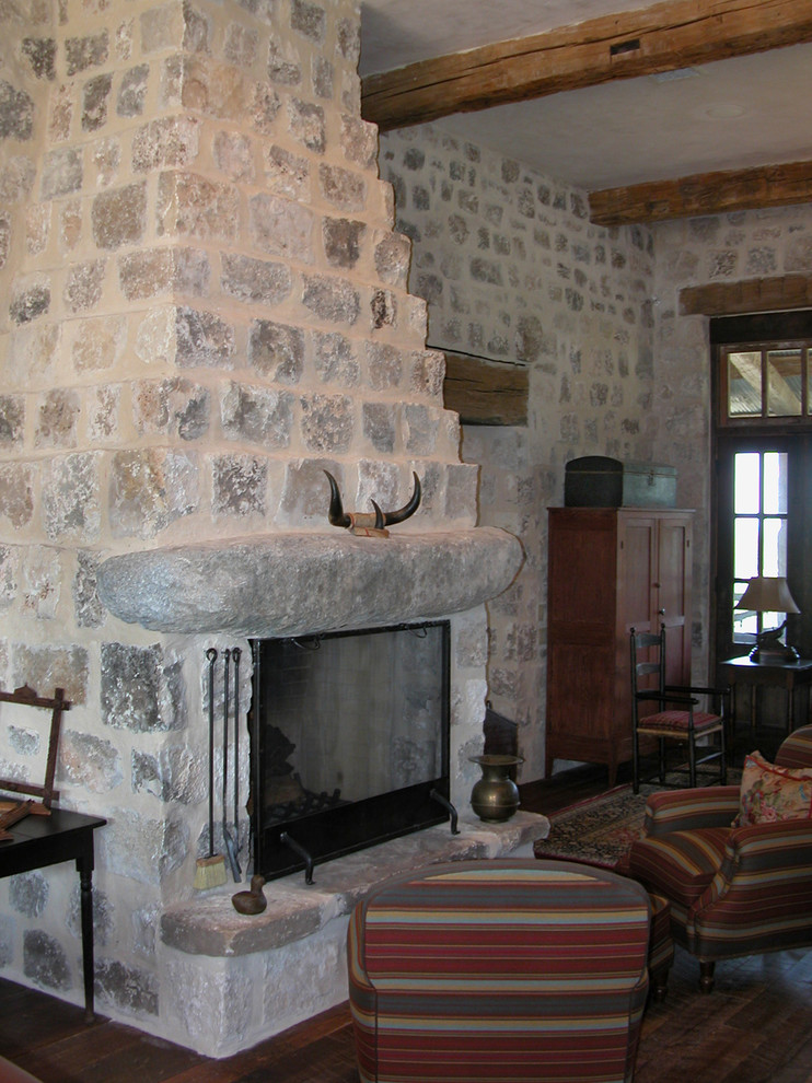 Inspiration for a rustic living room remodel in Austin