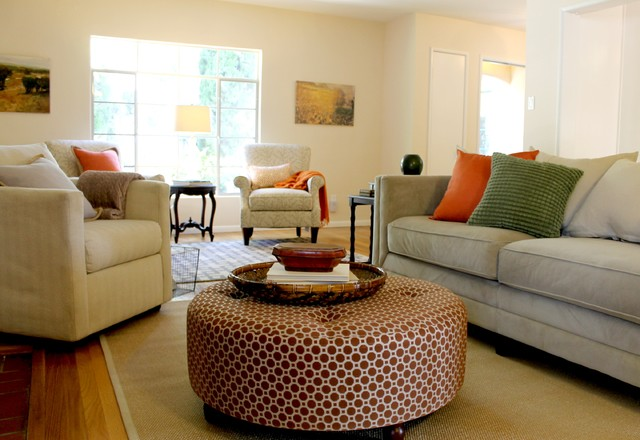 Geometric Pattern Ottoman Coffee Table In Updated Traditional Room  Traditional Living Room