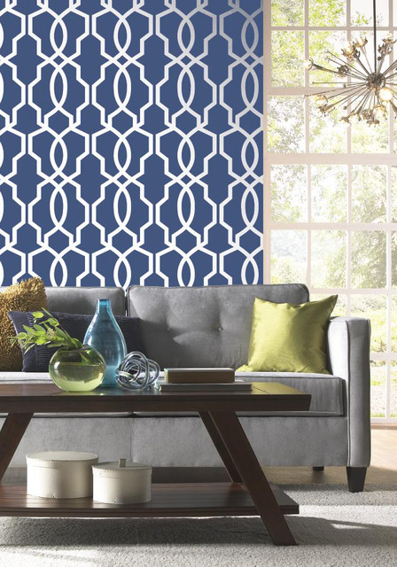 Geometric wallpaper modern living room boston by - Wall covering ideas for living room ...