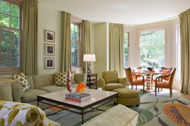 Green Traditional Living Room green living room | houzz