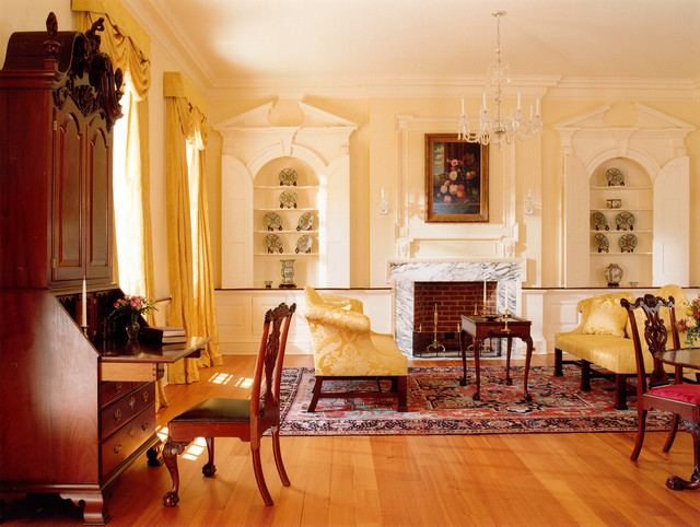 Inspiration For A Timeless Formal And Enclosed Medium Tone Wood Floor  Living Room Remodel In DC