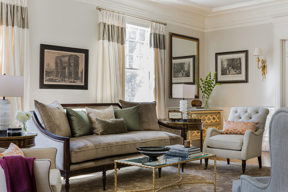 Inspiration for a timeless formal medium tone wood floor living room remodel in Boston with beige walls