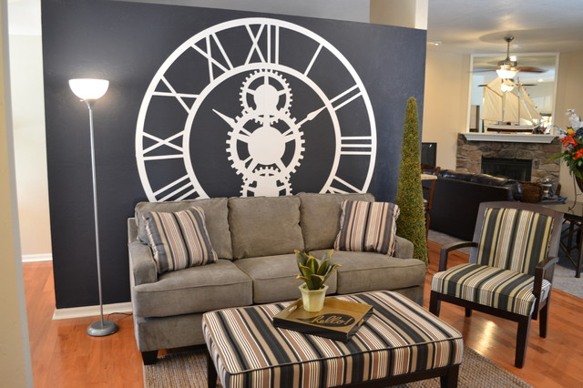 Giant Clock Wall Traditional Living Room Other Metro
