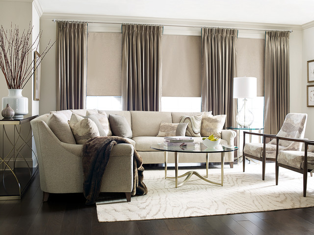 Glamorous and Transitional Neutral Living Room transitional-living-room