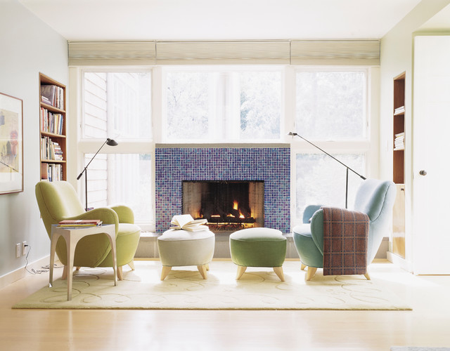 Living room - small contemporary living room idea in San Diego with gray walls, a standard fireplace and no tv