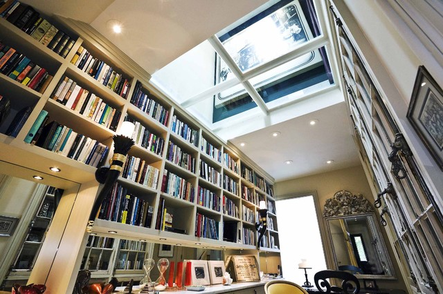 Glass ceiling. eclectic living room