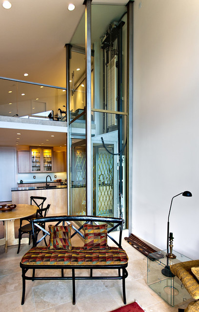 Glass home elevator contemporary living room san for Acme salon san francisco