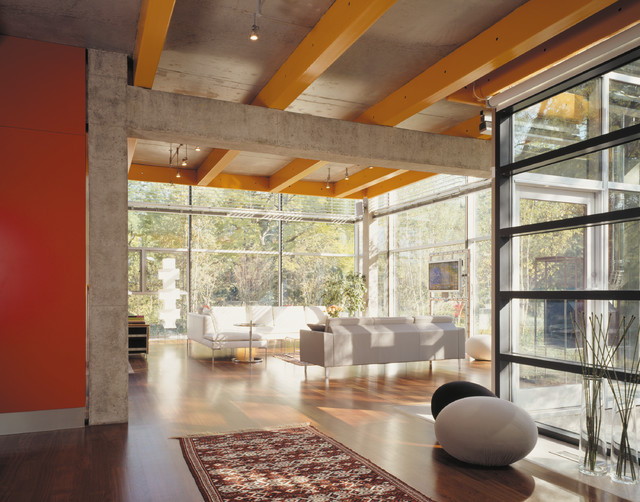 Glass House industrial-living-room